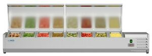 71 Refrigerated Countertop Condiment Prep Rail Station includes Eight 1 3 Pans