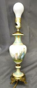 Antique Porcelain Hand Painted Oil Painting Portrait Urn Bronze Mounted Sevres
