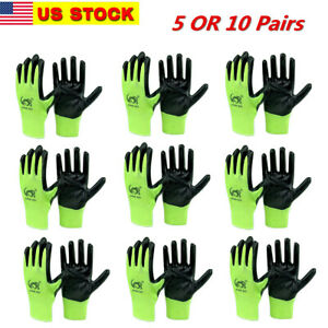 5 Or 10 Pairs Of Latex Rubber Palm String Knit Work Gloves Size M Or L