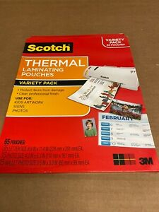 New 3m Scotch Thermal Laminating Pouches Variety Pack 65 Cts