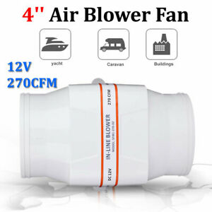 4 In Line 12v Marine Boat Bilge Air Blower Fan 270cfm Ventilation White