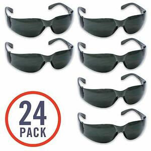 24 Pack Of Tinted Safety Glasses 24 Protective Shaded Safety Goggles Uv Resistan