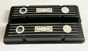 Small Block Chevy Valve Covers Black With Chevrolet Bowtie Logo Classic Styling
