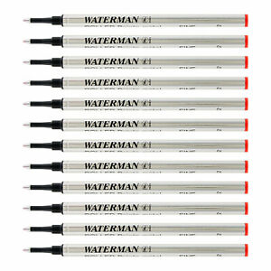 Waterman Rollerball Pen Refills Fine Point Red Ink 12 count