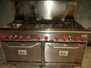 Restaurant 10 Burner Cpg cooking Performance Group Gas Range With Double Oven