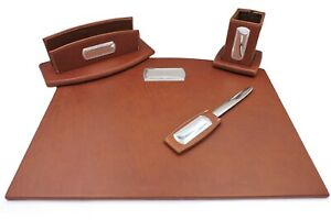 Office Supply Desk Set Of 4 Pieces Brown Genuine Leather With Silver Plated Inse