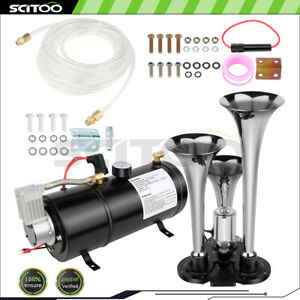 3 Trumpet Train Air Horn Kit 150db With 12v Air Compressor Air System 150 Psi