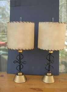 Pair Vintage Table Lamps Mid Century 1950 S Blacktwisted Iron Parchment Shades