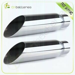 Pair 2 25 Inlet 3 Outlet 12 Long Stainless Steel Exhaust Tip Weld On