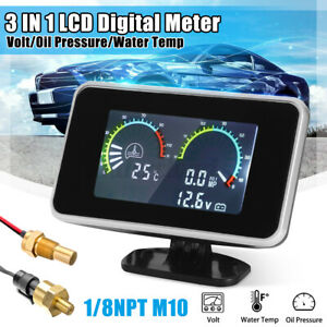 3 In 1 Lcd Digital Gauge Voltmeter Oil Pressure Water Temperature Meter