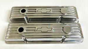 Small Block Chevy Valve Covers Polished W Chevrolet Bowtie Logo Classic Styling