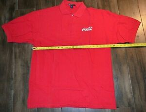 Coca Cola Polo Shirt Red Size Large Coke XL S Sleeve Mens