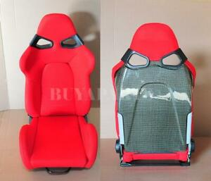 Real Yellow Carbon Fiber Shield Red Cloth Reclinable Racing Seat With Slider