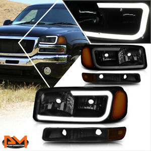 For 99 07 Gmc Sierra yukon Xl Led Drl Headlight W Bumper Lamp Tinted amber 4pcs