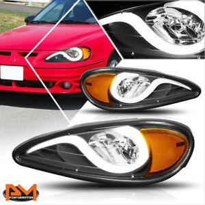 For 99 05 Pontiac Grand Am Led Drl Headlight Lamps Black Housing Amber Corner
