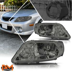For 01 03 Mazda Protege Direct Replacement Headlight Lamps Clear Corner Smoked