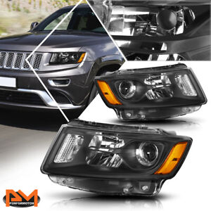 For 14 16 Jeep Grand Cherokee Projector Headlight lamp Black Housing Amber Side