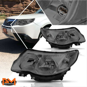 For 09 13 Subaru Forester Headlight lamp Replacement Smoked Housing Clear Corner