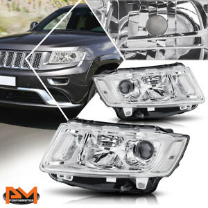 For 14 16 Jeep Grand Cherokee Projector Headlight lamp Chrome Housing Clear Side