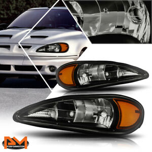 For 99 05 Pontiac Grand Am Headlight Lamps Repalcement Smoked Housing Amber Side