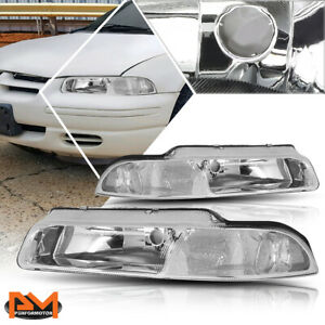 For 95 00 Chrysler Cirrus Dodge Stratus Headlight Lamp Chrome Housing Clear Side