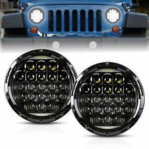 2x 7 Inch Round 5d 130w Led Projector Headlight With Drl For Motorcycles Jeep