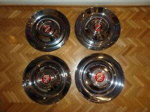 1948 1949 1950 1951 1952 Cadillac 15 Inch Sombrero Hubcaps Set Of 4 New Repop