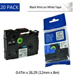 20pk Tz231 Tze231 Black On White Label Tape For Brother P touch Pt e550w 1 2