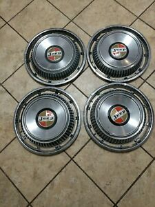 Vintage 70 S Jeep Wagoner Cj5 Willys Kaiser Turbine Hubcaps 15 Set