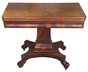 Antique American Empire Flame Mahogany Swivel Console Game Table Card Entryway