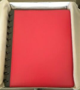Levenger Circa Leather Foldover Notebook Red large With Tabs And Sleeves