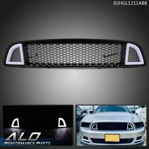 Front Upper Led Honeycomb Style Grille For 2013 2014 Ford Mustang Non shelby