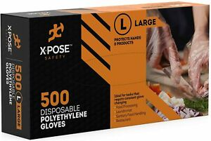 500 Clear Disposable Poly Gloves Large Non Latex Non sterile Industrial Poly