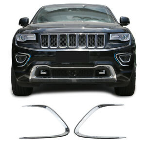 Car Front Fog Light Trim Lamp Bezel Strip For Jeep Grand Cherokee 2014 16 Chrome