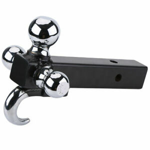 Triple Ball Trailer Hitch Receiver Mount 1 7 8in 2in 2 5 16in Towing Hook Part