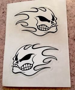No Fear Flaming Skull Heads Sticker One Pair Mint