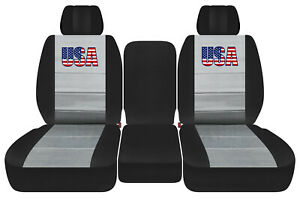 Front Truck Car Seat Covers Blk Silver W Usa Flag Fits Dodge Ram11 18 1500 2500