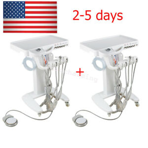 2x Portable Dental Delivery System Turbine Unit Cart Treatment No Compressor Us