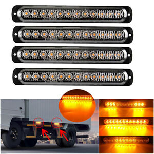 4x Amber 12 Led Car Truck Emergency Beacon Warning Hazard Strobe Flash Light Bar