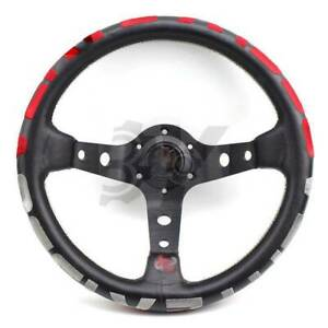 320mm Red Stitch Leather Deep Dish Steering Wheel For Momo Hub Drift 1996