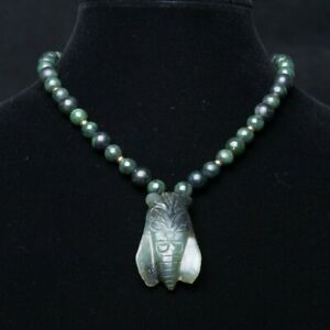 Antique Chinese Spinach Green Jade Beaded Necklace With 2 Carved Cicada Pendant