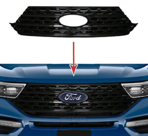 Fits 2020 21 Ford Explorer Snap On Black Grille Overlay Full Front Grill Covers