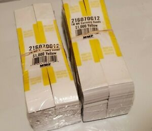 8 000 Self sealing Currency Bands Straps 1 000 Denomination Yellow Money Mmf