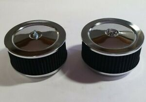 Pair 2 6 3 8 X 4 Chrome 4 Bl Rpc Washable Air Cleaners Chevy Holley Edelbrock