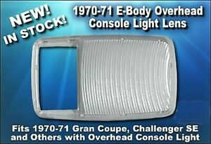 New 1970 71 Challenger Se Cuda Gran Coupe Overhead Console Dome Light Lamp Lens