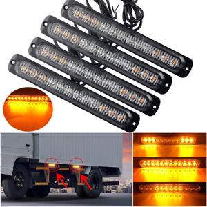 2x Amber 12 Led Car Truck Emergency Beacon Warning Hazard Flash Strobe Light Bar