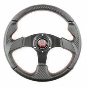 Perforated 320mm Pvc Carbon Black W Red Stitch Steering Wheel For Honda Acura