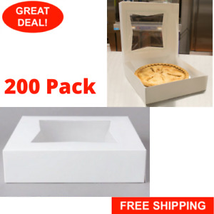 10 X 10 X 2 1 2 White Square Pie Pastry Bakery Box Home With Window 200 pack