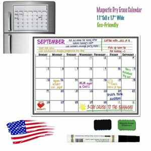 17 X 11 Monthly Dry Erase Magnetic Refridge Calendar Home Whiteboard Message
