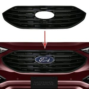 For 2019 2020 Ford Edge Black Snap On Grille Overlay Full Front Grill Covers New